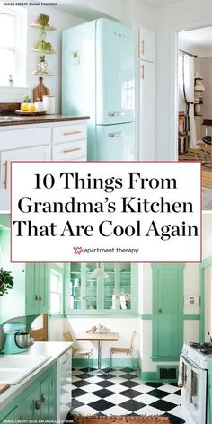 Here are 10 things from your grandparents' kitchen that are actually cool again. #kitchendecor #kitchenideas #retrokitchen #retrokitchenideas #kitchentrends #smegfridge #checkeredfloors #nostalgiadecor #oldschoolkitchen #grandmillennial