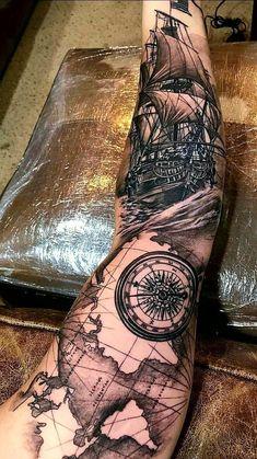 Sleeve and Hand Tattoos . Sleeve and Hand Tattoos . Pin by Samra Says On Tattoo Ideas 3 Full Arm Sleeve Tattoo, Ship Tattoo Sleeves, Nautical Tattoo Sleeve, Ocean Sleeve Tattoos, Forearm Sleeve Tattoos, Best Sleeve Tattoos, Tattoo Sleeve Designs, Pirate Tattoo Sleeve, Pirate Hand Tattoo