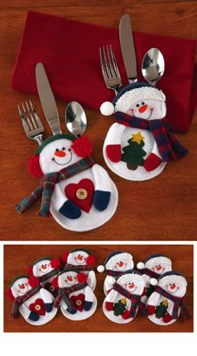 snowman silverware pockets | 8pc. Snowman Holiday Silverware Holders from Collections Etc.