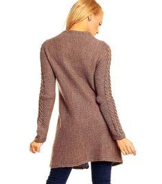 Damen Strickmantel Strickjacke  Wolle mit Alpaka braun  Neu Gr.36