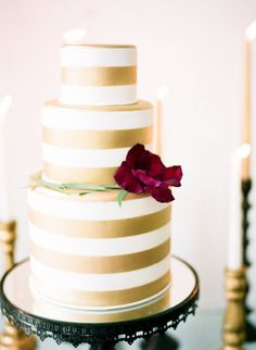 Kyla Gold Wedding Cake Inspiration | Gold stripe cake by melissa's fine pastries- new orleans