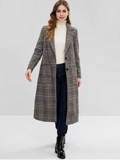 Winter No Pockets Plaid Single Lapel Full Long Wide-waisted Coat Daily and Going Fashion Maxi Plaid Single Breasted Lapel Coat Coats For Women, Jackets For Women, Turtleneck Outfit, Check Coat, Winter Outfits For Work, Outdoor Outfit, Trendy Fashion, Shirt Style, Plaid