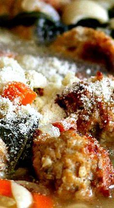 Ina Garten's Italian Wedding Soup ❊ made w/ chicken meatballs
