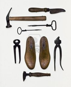 antique tools of the cobbling trade.