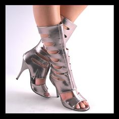 Tall Gladiator Sandals For Sale | New Pewter Midcalf High Heel Gladiator Boots | eBay