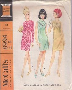 MOMSPatterns Vintage Sewing Patterns - McCall's 8994 Vintage 60's Sewing Pattern FAB Mod Modified Princess Seams Cocktail Party Dress, Draped Cowl Kerchief Neck Size 14
