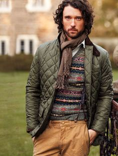 Men s Olive Quilted Jacket, Chocolate Scarf, Grey Fair Isle V-neck Sweater,  Tobacco Chinos, and White Longsleeve Shirt a7997e0fed0
