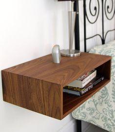Zwevend nachtkastje / half eeuw moderne White nachtkastje in massief notenhout, eik of Maple