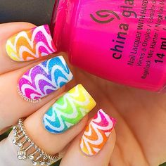 Check this out on Instagram.com  Sensational Fluro Glitzy Nail-Art by @clairestelle8 ♥≻★≺♥