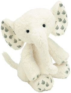 Jellycat Moonbeam Elly is a gorgeous cream elephant with printed fabric inside his ears and at the end of his legs.