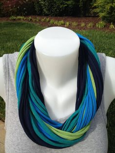 New colors for Spring/Summer 2013 - TShirt Scarf- fun fashion for you or great idea for end of year gift for your favorite teacher - kiwi/jade/sapphire/navy Multistrand by PINK4theCURE, $25.00
