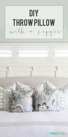 DIY Throw Pillow with a Zipper - Easy Tutorial! via Life On Virginia Street