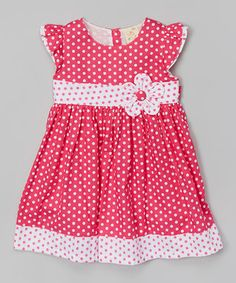 Fuchsia Polka Dot Babydoll Dress - Toddler & Girls