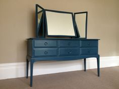 Stag dressing table with triple mirror and 6 drawers hand painted shabby chic