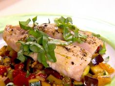 Top a homemade French ratatouille (think eggplants, tomato, zucchini ...) with skin-on snapper for a decadent meal.