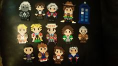 All 13 Doctors and the Tardis - Doctor Who perler beads by velvettears13