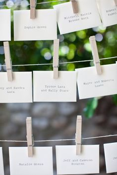 Clothes pin place cards. This idea never gets old.
