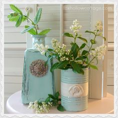 Aqua tin can and glass bottle DIY home decor. Distressed, repurposed paint project - Via Shannon Fox, foxhollowcottage.com for this (and more!) simple craft tutorials