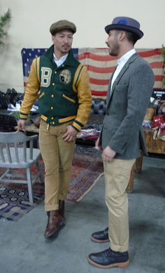 One of  the best Letterman jkt matching - same tone sleeve & pants plus the slim boots score ! The color combo of the jacket contributes a lot