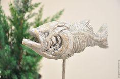 Купить Статуэтка Скелет Окаменевшая Рыба на подставке из бетона Прованс, Лофт в интернет магазине на Ярмарке Мастеров