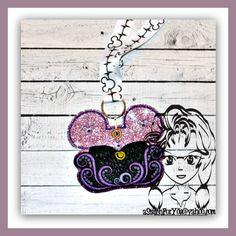 Evil Octopus to Mermaid ~ Pin Lanyard Display Mouse HeaD Trader ~ ITH Mr Miss Mouse Inspired Photo Prop ~ INSTANT Download Design by Carrie aStitchForYou on FB & Etsy