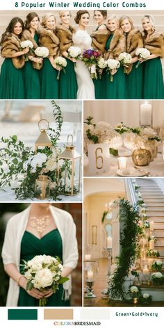Bright Green, Ivory and Gold Winter Wedding Inspirations 8 Romantic Winter Wedding Color Combos for 2018 – ColorsBridesmaid Gold Wedding Colors, Winter Wedding Colors, Winter Wedding Inspiration, Wedding Color Schemes, Wedding Ideas, Emerald Wedding Theme, Ivory Wedding, Winter Themed Wedding, January Wedding Colors