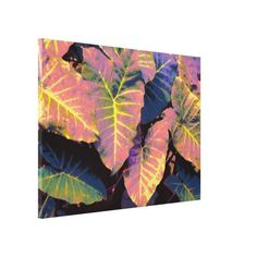 Elephant Leaves in Tropical Pastels Canvas Print - pattern sample design template diy cyo customize