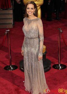Angelina Jolie Shines in Elie Saab at 2014 Oscars Angelina Jolie, Elie Saab, Academy Award Winners, Prom Dresses, Formal Dresses, Red Carpet Fashion, Awards, Actresses, Oscars