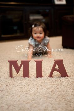 child picture pose idea - letters in focus