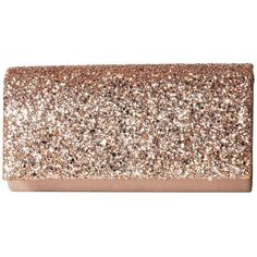 Jessica McClintock Chloe Glitter Flap Clutch (Rose Gold) (140 BRL) ❤ liked on Polyvore featuring bags, handbags, clutches, glitter handbag, flap handbags, glitter clutches, chain strap purse and jessica mcclintock clutches