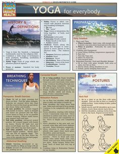 Yoga for Everyone - This 4-page is the perfect tool for those wanting to sharpen their skills for this relaxing and stimulating mind and body exercise for healthy living. It includes information on breathing techniques, warm up postures, sun salutation an