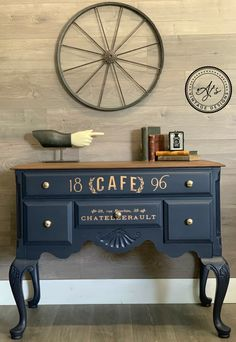 Learn how to use Dixie Belle Paint today! This piece has In the Navy Gator Hide and No Pain Gel Stain in Walnut. Learn how to use Dixie Belle Paint today! This piece has In the Navy Gator Hide and No Pain Gel Stain in Walnut. Refurbished Furniture, Repurposed Furniture, Rustic Furniture, Furniture Makeover, Antique Furniture, Diy Furniture, Modern Furniture, Dresser Makeovers, Furniture Design