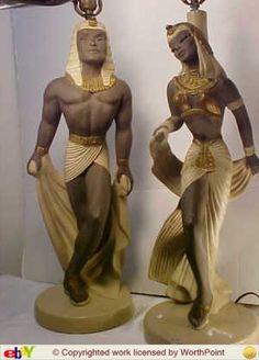1950's Reglor of California rare Egyptian chalkware lamps