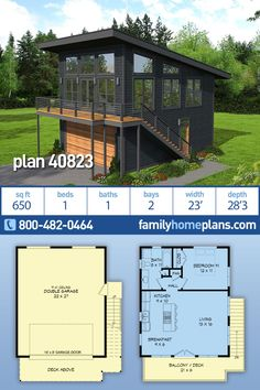 Modern Garage Apartment Plan One Bedroom and One Bathroom Over Two Car Garage - - Garage Plan 40823 - Contemporary, Modern Style 2 Car Garage ApartmentPlan with 650 Sq Ft, 1 Bed, 1 Bath. One Bedroom House Plans, New House Plans, Small House Plans, House Floor Plans, Guest House Plans, Barn House Plans, Cabin Plans, Garage Apartment Plans, Garage Apartments