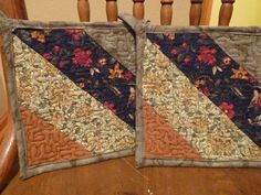 Quilted Green Blue & Brown Pot Holders by SugarHillEnterprises