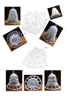 199 - 200 Crochet Ornaments, Crochet Snowflakes, Xmas Ornaments, Christmas Decorations, Crochet Doily Patterns, Crochet Doilies, Crochet Flowers, Christmas Bells, Christmas Cross