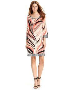 Calvin Klein Dress, Three-Quarter-Sleeve Printed Shift - Dresses - Women - Macys Orange/White/Black