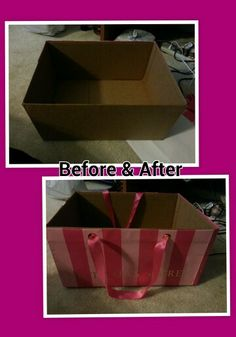 I took a regular cardboard box and recycled Victoria's Secret bags by applying it to the box. Perfect for storage or a gift box.