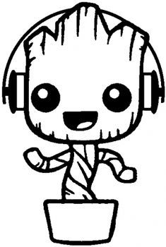 baby groot coloring page free Kawaii Drawings, Disney Drawings, Easy Drawings, Disney Character Drawings, Colouring Pages, Coloring Sheets, Coloring Books, Baby Groot Drawing, Cricut Creations