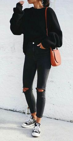 casual outfits for winter & casual outfits . casual outfits for winter . casual outfits for work . casual outfits for women . casual outfits for school . casual outfits for winter comfy All Black Fashion, Look Fashion, Autumn Fashion, Spring Fashion, Trendy Fashion, Trendy Style, Petite Fashion, Latest Fashion, Luxury Fashion