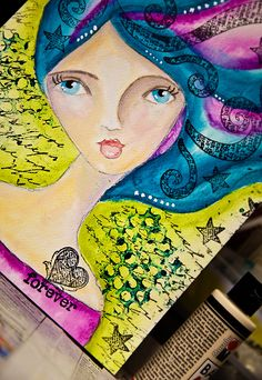 artjournal-mixedmedia-she-art-gilr-swirly-hair-1