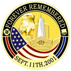 This commemorative coin was created in remembrance of the 15 years since 9/11. One side features the twin towers with the One World Trade Center skyscraper prominently displayed in silver with the pen