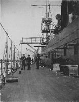 USS Maine (1895-1898)  View looking forward on deck, port side, taken while the ship was visiting Bar Harbor, Maine, 1895.  U.S. Naval Historical Center Photograph.
