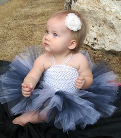 Dallas Cowboys Colors Tutu in Navy Blue, White, and Silver, Perfect for Football Season, Baby, Toddler, Girls - Newborn Photography Prop