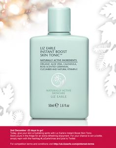 For your chance to win our Instant Boost Skin Tonic, simply repin and post to Twitter with #LizEarleXmas on 2 Dec!