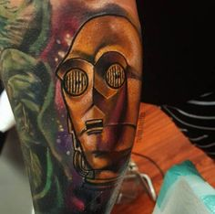 C-3PO Tattoo by Travis Broyles. #ink #inked #inkedmag #c3po #c3p0 #droid #star #wars #tattoo #idea
