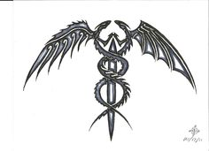 Would look awesome as a tattoo Dragon Caduceus by penryck13.deviantart.com on @deviantART