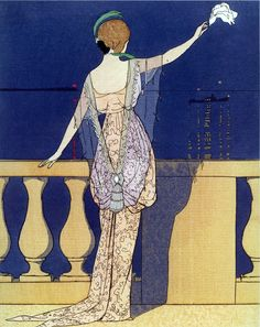 Andre Edouard Marty - Paquin Evening Robe, 1913, from Gazette Du Bon Ton.