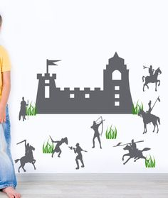 Childrens Playroom Wall decal Castle Medieval Knights in Armor Kids Decor wall art stickers, Boys Decor