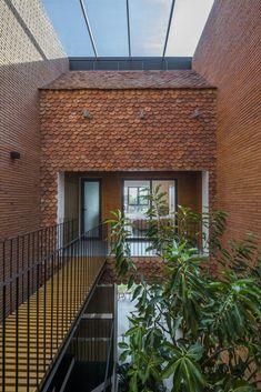 A Multiple Veranda 2Hien House | CTA - Creative Architects - The Architects Diary Scallop Tiles, Fish Scale Tile, Metal Railings, Glass Brick, Narrow House, Concrete Building, Interior Windows, Outdoor Living, Outdoor Decor